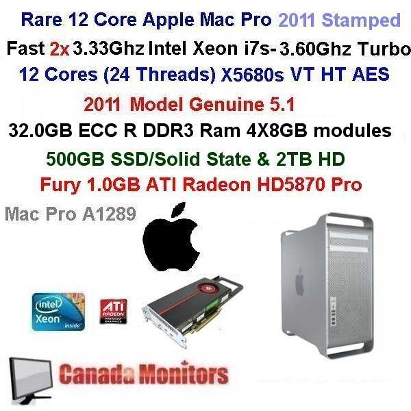 12 Core 3.46Ghz Apple Mac Pro 32GB 500GB SSD Wifi OSX Sierra