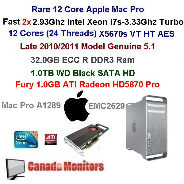 12 Core 3.33Ghz Apple Mac Pro 32GB 4.0TB HD 2011 Model HD5770