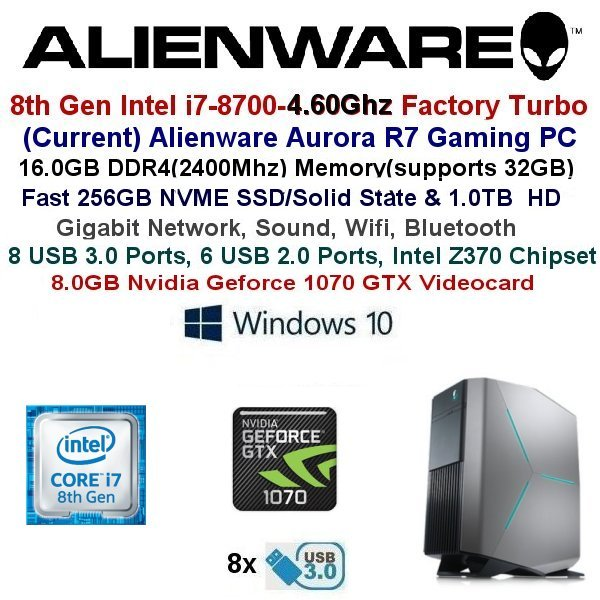 Fast 3.40Ghz/4.00Ghz Alienware Aurora R5 Gaming PC GTX1070