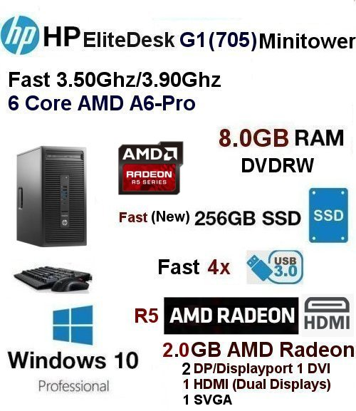 Fast 3.50Ghz/3.90Ghz HP Elitedesk G1 AMD Minitower 8GB 256GB SSD