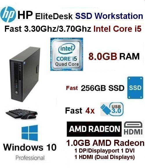 Fast 3.30Ghz/3.70Ghz i5-4590 HP SSD Workstation 8GB 256GB SSD W1