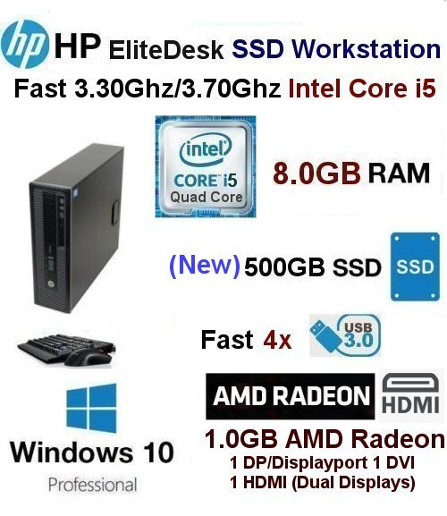 Fast 3.30Ghz/3.70Ghz i5-4590 HP SSD Workstation 8GB 512GB SSD W1