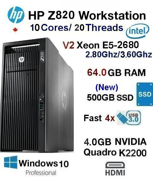10 Core 2.80Ghz/3.60Ghz Xeon(E5-2680 V2) Z820 64GB Ram 500GB SD
