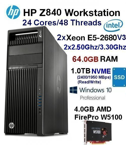 Fast 24 Core 2.50Ghz/3.30Ghz Xeon(E5-2680 V3) Z840 64GB 1TB NVME - Click Image to Close