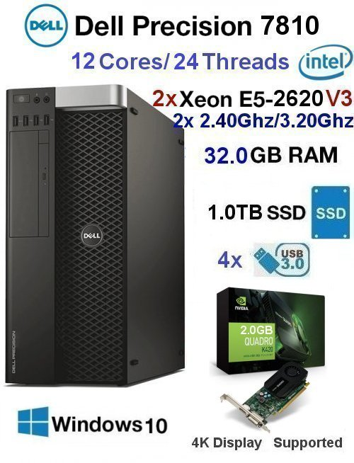 12 Core 2.40Ghz/3.20Ghz E5 Xeon V3 Dell Precision 7810 32GB 1TB