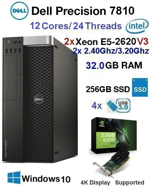 12 Core 2.40Ghz/3.20Ghz E5 Xeon V3 Dell Precision 7810 32GB 256G