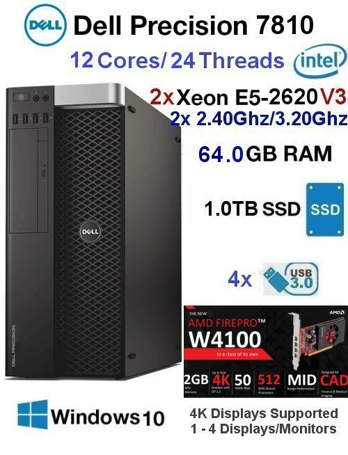 12 Core 2.40Ghz/3.20Ghz E5 Xeon V3 Dell Precision 7810 64GB 1TB