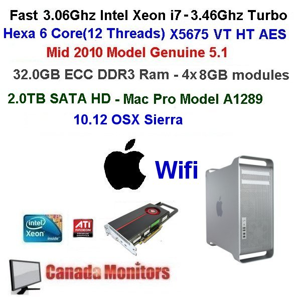 Grade B-Hexa-6 Core 3.06Ghz X5675 Apple Mac Pro 32GB 2TB 2010