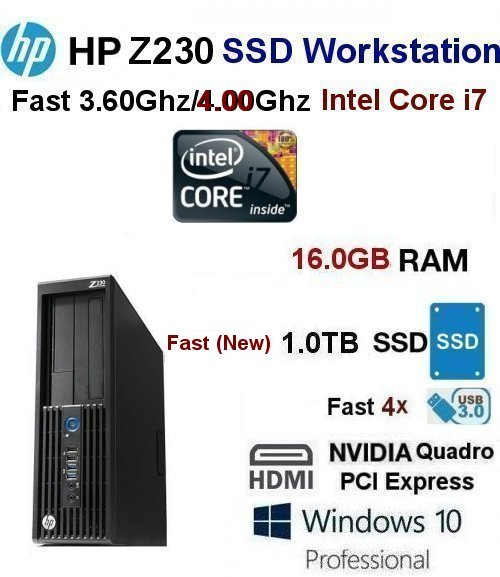 Fast 3.60Ghz/4.00Ghz Core-i7 HP Z230 Pro SFF 16GB 1.0TB SSD - Click Image to Close