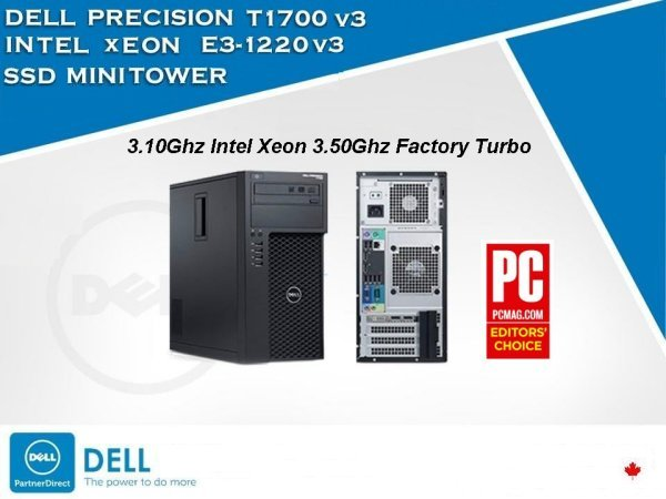 Fast V3 Quad 3.10Ghz/3.50Ghz Dell Precision T1700 16GB 256GB SSD